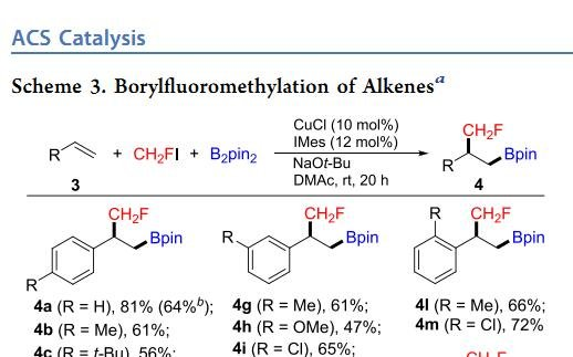铜催化烯烃的区域选择性硼烷基氟甲基化