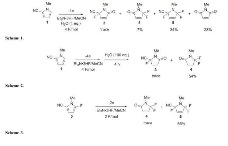 有机化合物的部分电解氟化:2-嘧啶基,2-吡啶基和2-喹唑啉酮基硫化物的阳极氟化